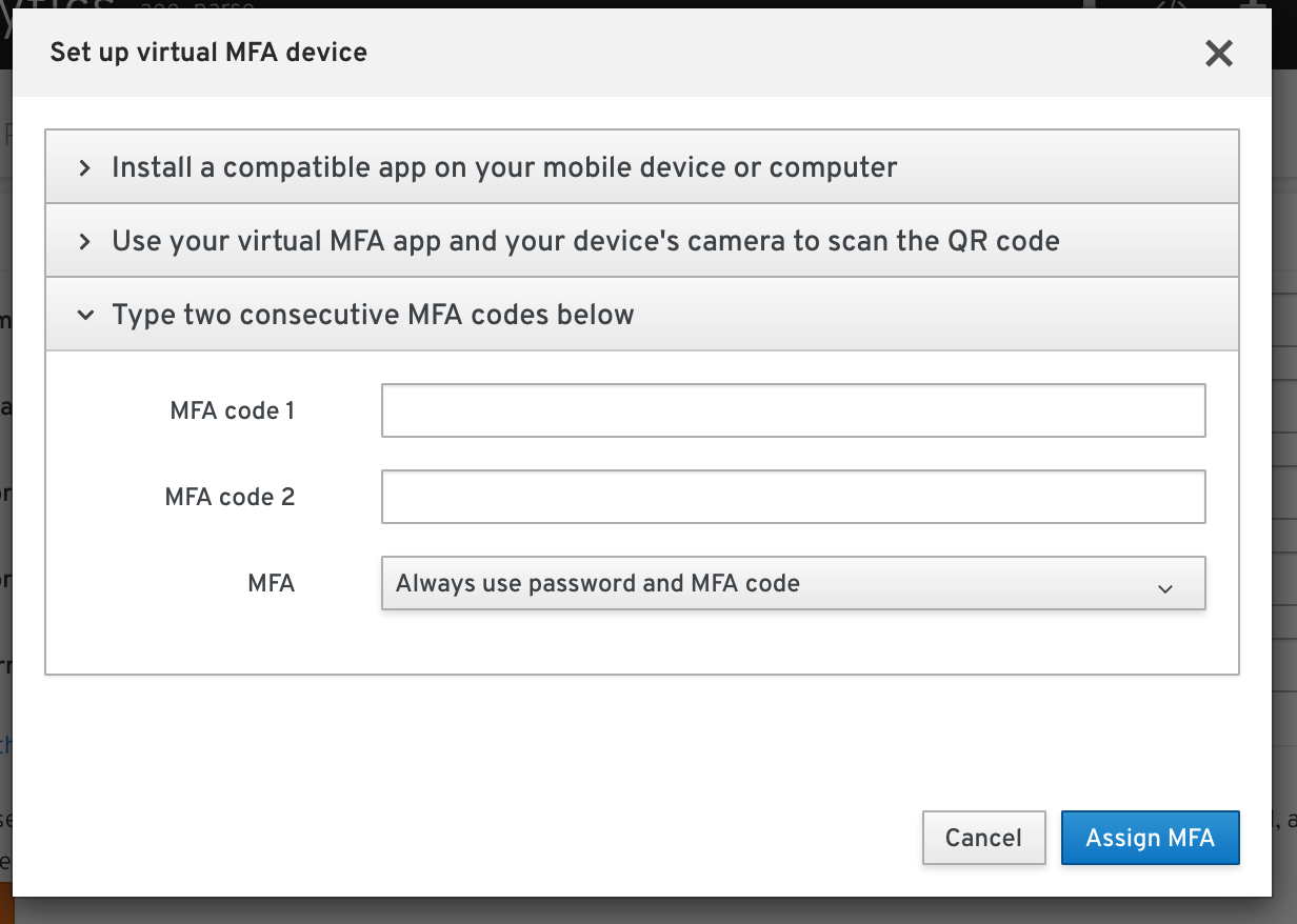 Login MFA options