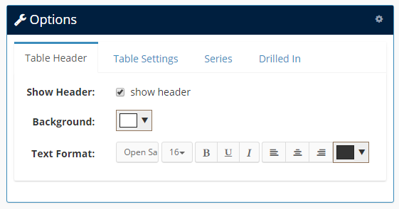 Table header options
